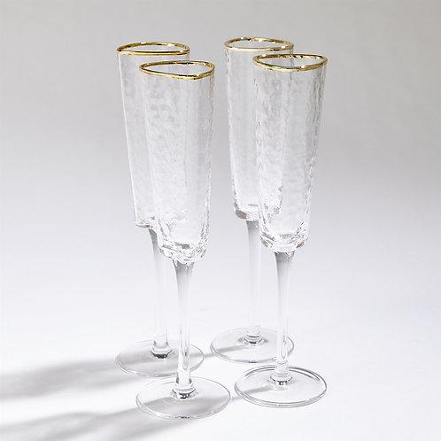 Set of 4 Hammered Champagne Glasses