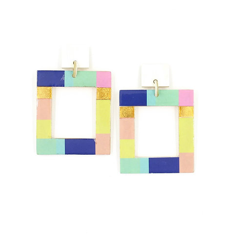 Color Block Horn Rectangle Earring