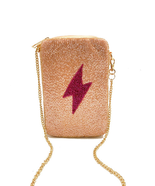 Pink Lightening Bolt Phone Bag