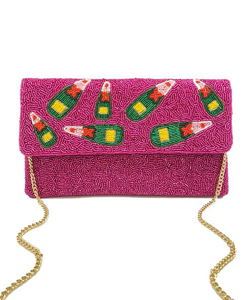 Pink Champagne Beaded Clutch