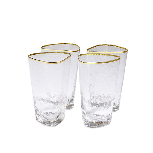 Set of 4 Hammered High Ball Glasses
