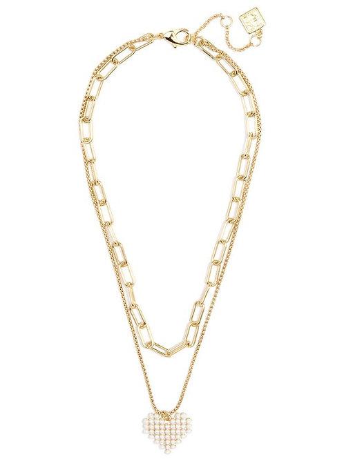 Layered Chain & Pearl Heart Pendant