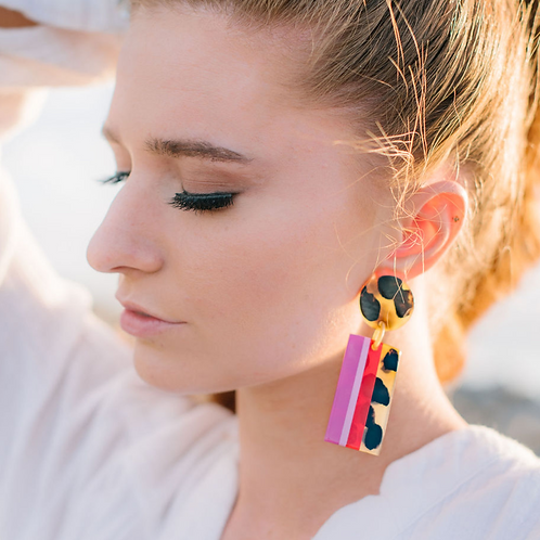 Rasberry Striped Cabana Earring