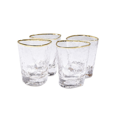 Set of 4 Hammered Water Glasses