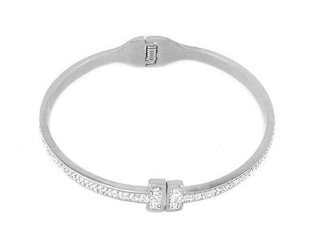 Steel Pave T Bangle