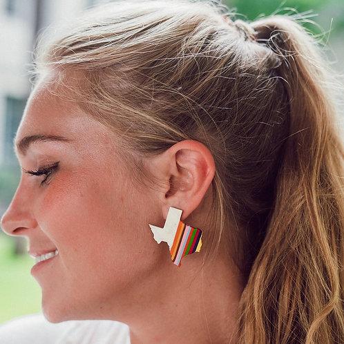 Texas Rainbow Horn Earrings