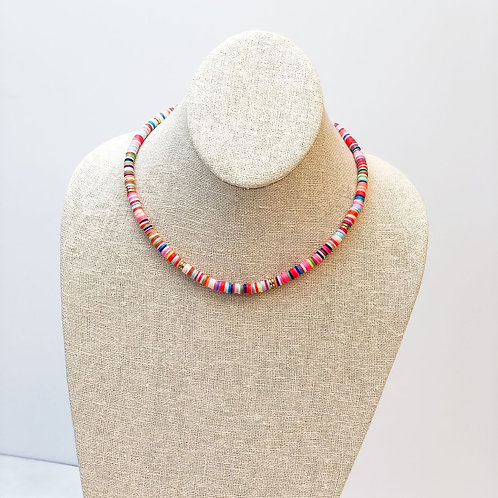 Rubber Disc Beaded Necklace Multi Color