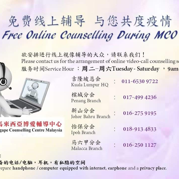 Free Counselling during MCO by AGAPE counselling centre Malaysia