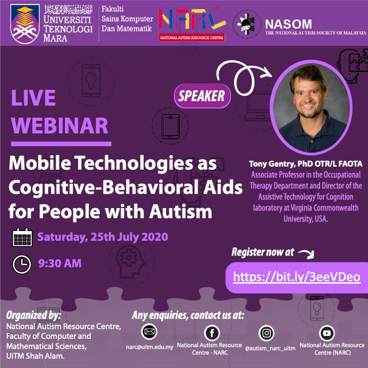 LIVE WEBINAR: Mobile Technologies as Cognitive-Behavioral Aids for People with Autism