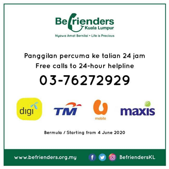 Befrienders: Panggilan percuma ke talian bantuan 24 jam