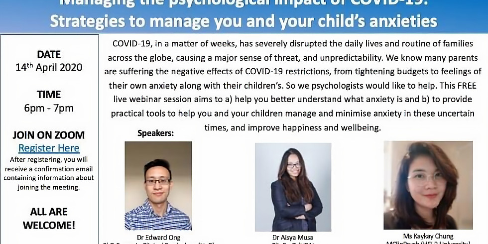 Managing Psychological impact of Covid-19: Managing your and your children's anxiety