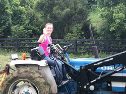 Working hard on the tractor