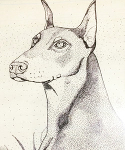 all dots, no lines. with ink doberma