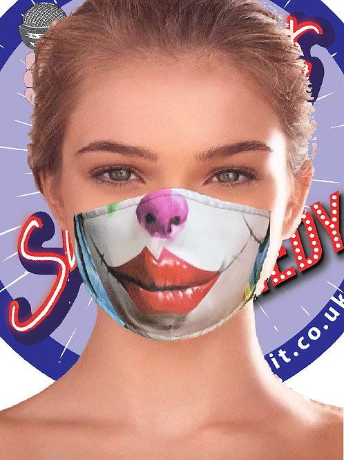 Comedy Face Masks.  Printed Multi layer mask - Female Clown Print