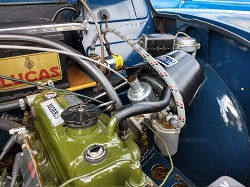 Morris minor carburettor and air intake.