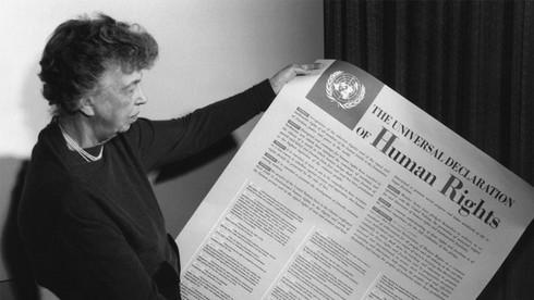 Eleanor Roosevelt holds Universal Declaration of Human Rights 1948