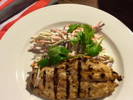 Piri Piri Chicken with Lime and Caramelised Garlic Slaw.