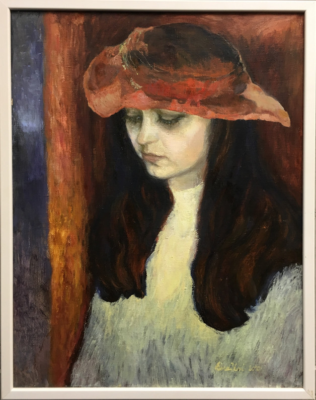 V červeném klobouku, olej, 2010; ---.JPG