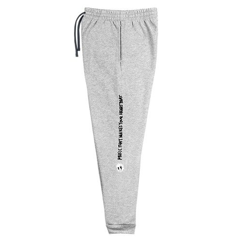 """HeartBeat"" Unisex Grey Joggers (Sizes Run Big)"