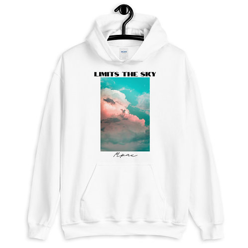 """Limits The Sky"" Unisex White Hoodie"