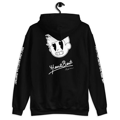 """HeartBeat"" White/Black Design Unisex Hoodie"