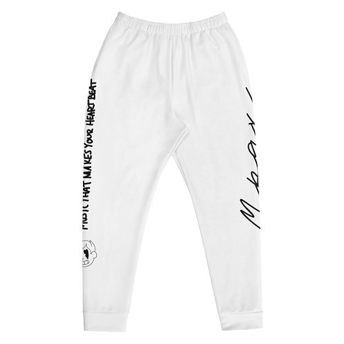 """""""HeartBeat"""" White Joggers - Slim Fit"""