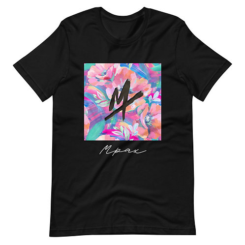 """""""Mpax Floral"""" Unisex Black T-Shirt (Athletic Fit)"""