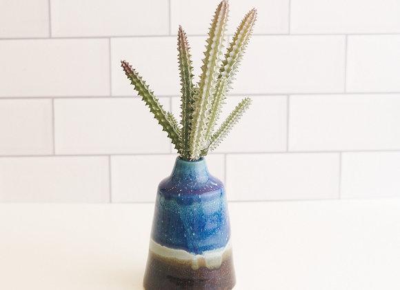 Blue and Teal Wash Bud Vase