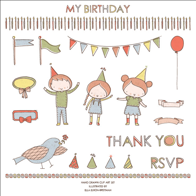 My Birthday Clip Art Set