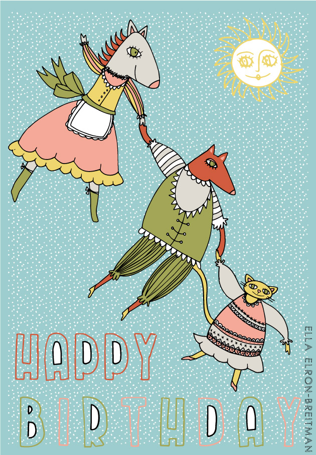 FolkArt Animals Card Happy Birthday