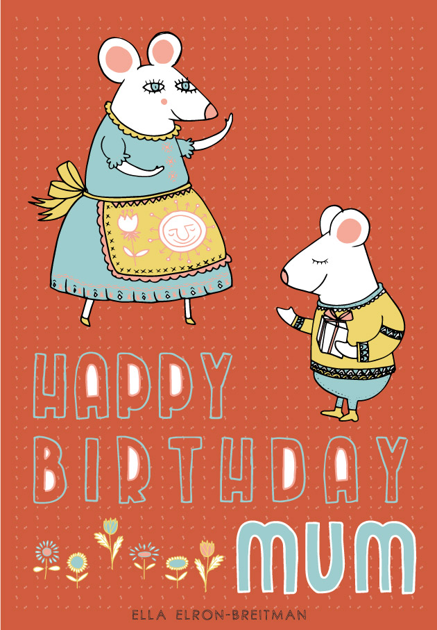 FolkArt Animals Card Birthday Mum