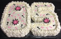 Number_Cake_85_pink_black_white_flowers.
