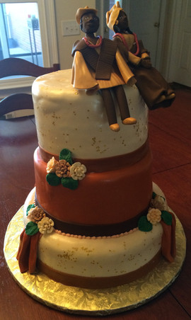 Wedding_Cake_African_topper_brown_orange
