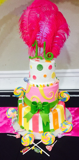 Kids_Cake_sweet_16_carnival_pink_yellow_