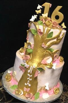 Woman_Birthday_Cake_gold_tree_pink_roses