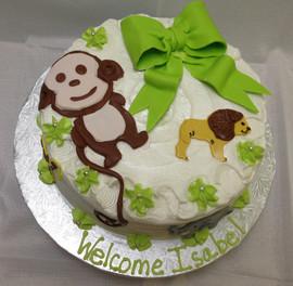 Babyshower_Cake_monkey_lion_bow_green.JP