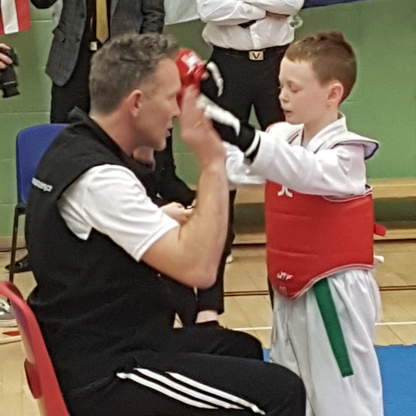 Sam getting ready to go in the ring