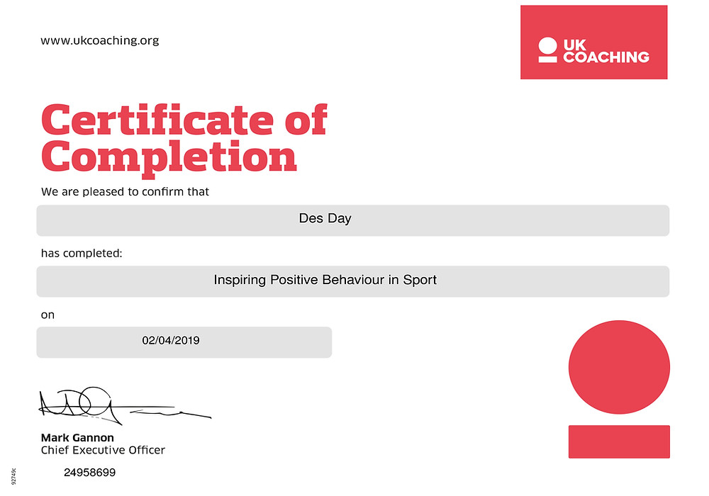 Certificate in Inspiring Positive Behaviour in Sport