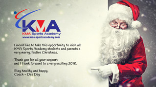 KMA Sports Academy Christmas opening and closing times.