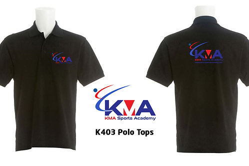 KMA branded Black short sleeve Polo top