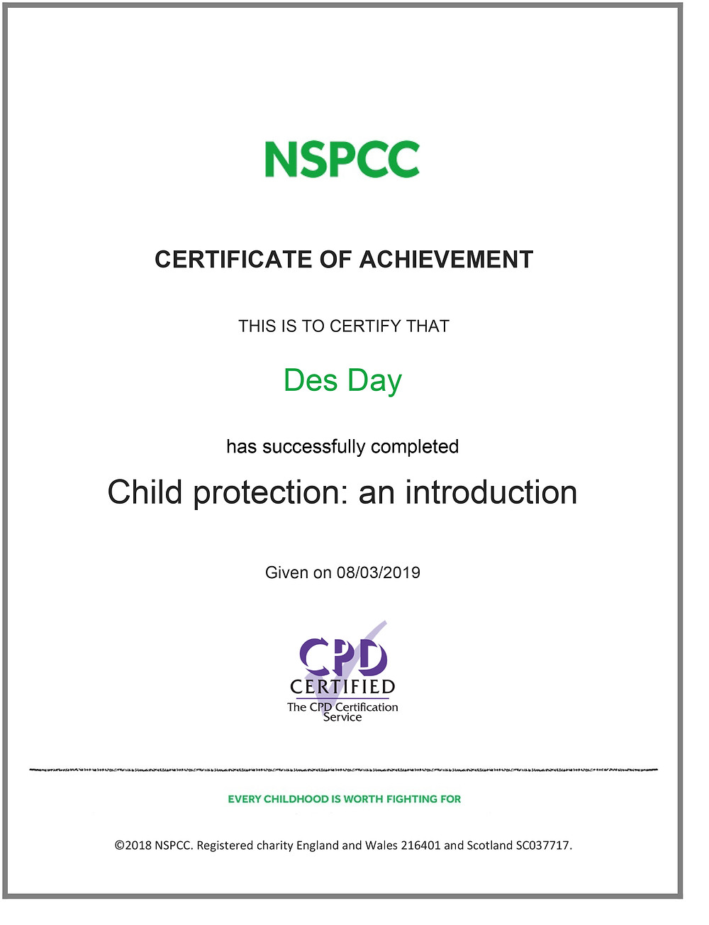 KMA Sports Academy Coach Des Day receives his Certificate in Child Protection