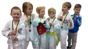 KMA Sports Academy Children proudly showing off their medals from the UKCDK Championships Feb 2017