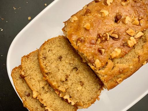 Eggless Banana Walnut Wheat Loaf Cake