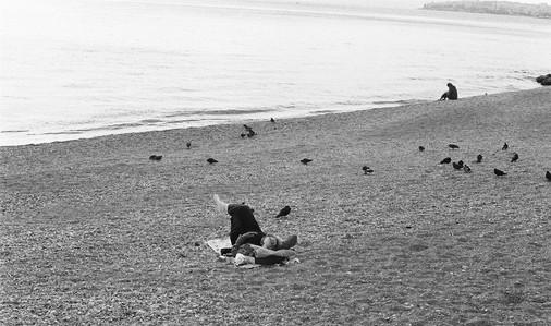 in the beach.(b)