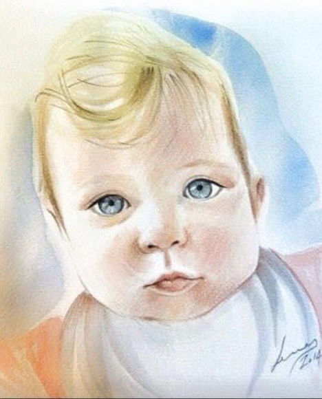 """"""" Portrait in water colors """" by Alice Le"""