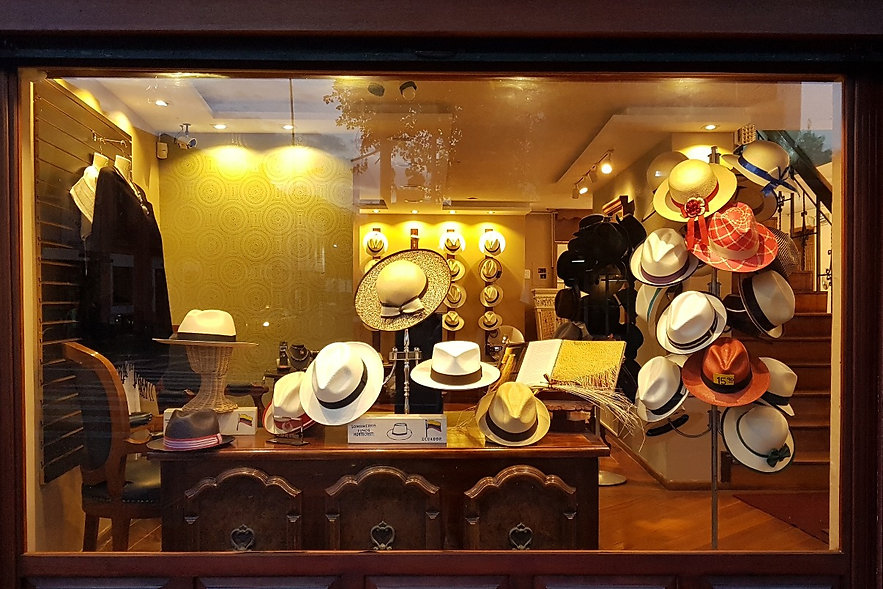 Shop Panama hats, Window Display, EBD Carmal hats Ecuador