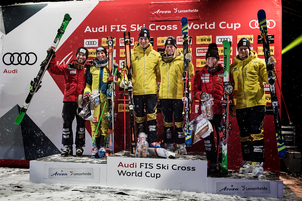 Siegerehrung Skicross Arosa - Bild Richard Wach Audi