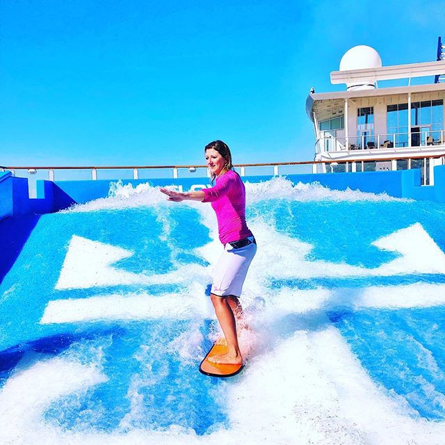 Surfing on the Flowrider at Symphony of the Seas