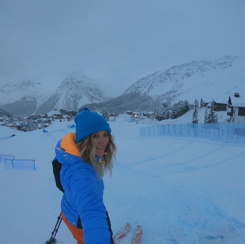 Auf der Strecke beim Skicross