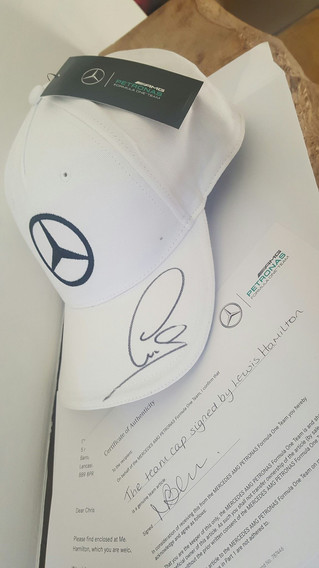 LEWIS HAMILTON SIGNED CAP AUCTION